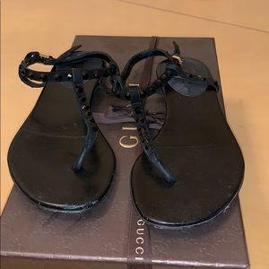 Gucci Rhinestone Black Leather Thong Sandals 34